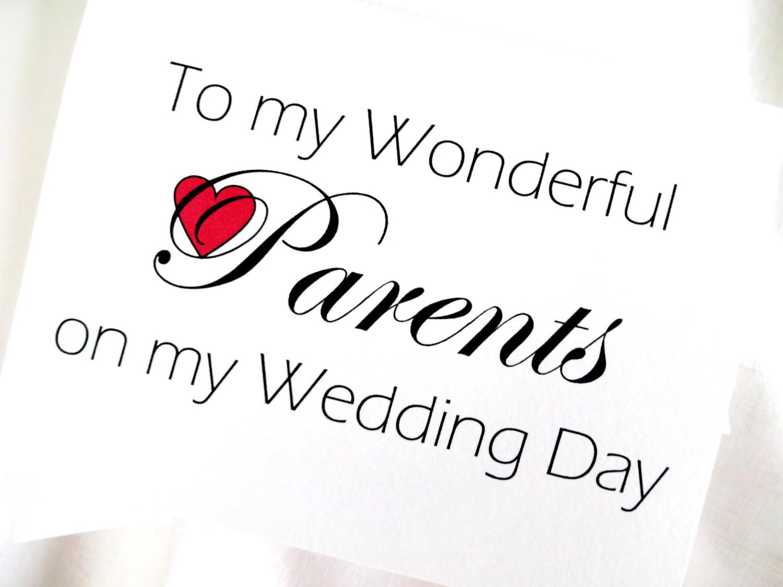 Parents Wedding Thank You Card Parents Wedding Card
