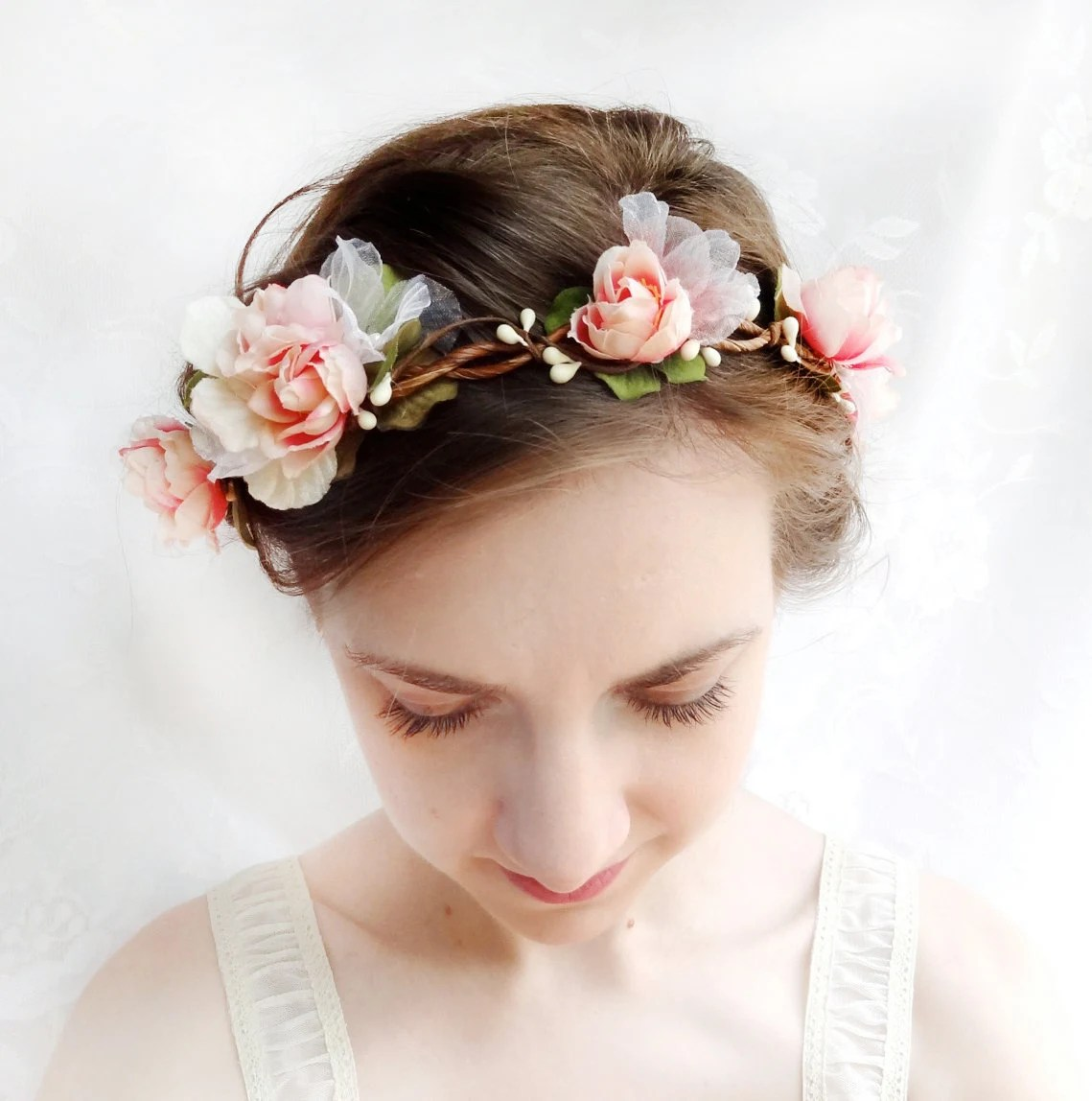 Pink Flower Bridal Wreath Bridal Headpiece Blush Pink Hair