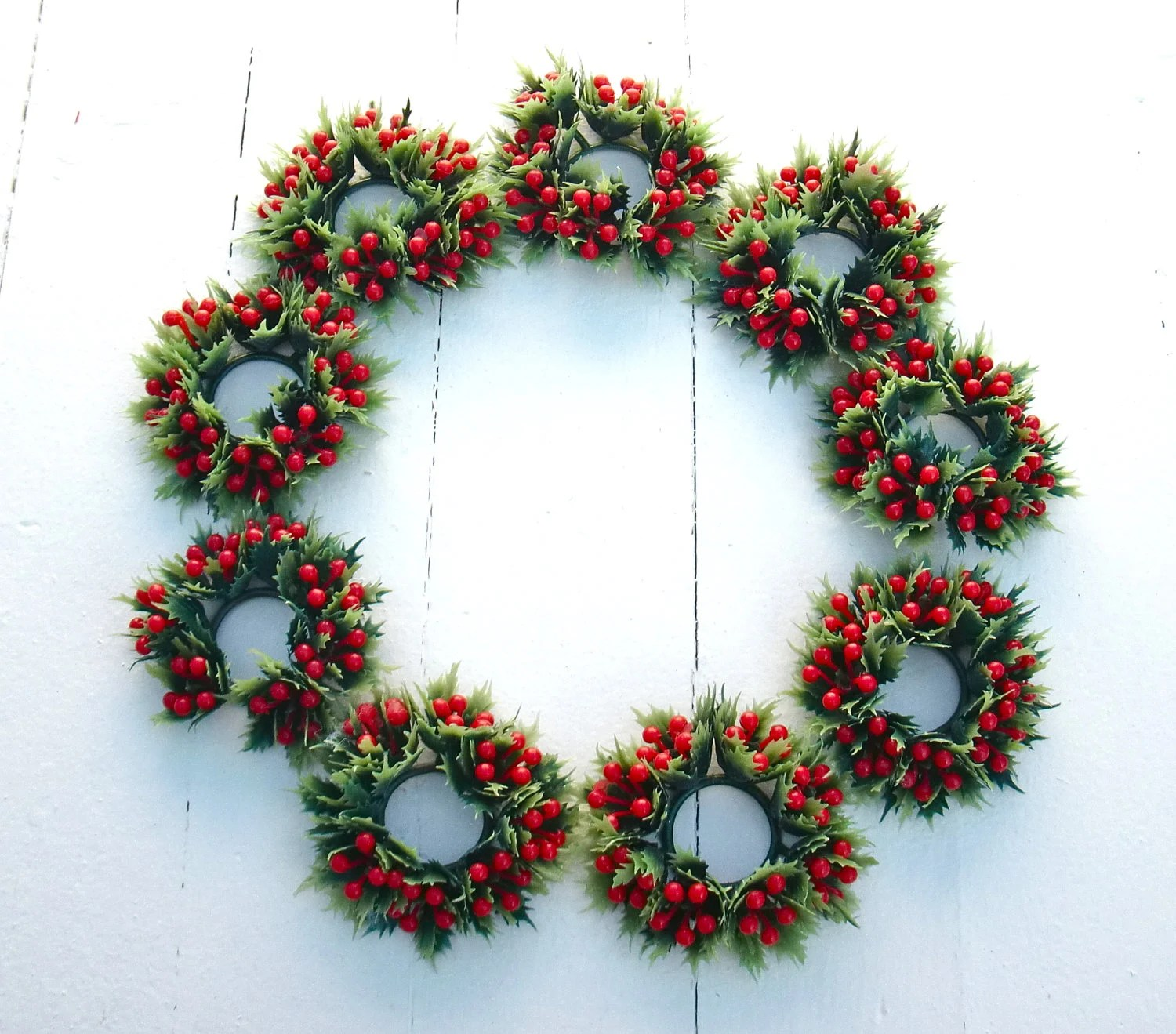 Retro Plastic Holiday Taper Candle Rings Kitschy by