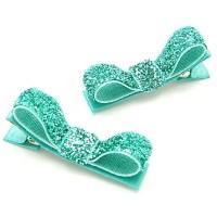 Aqua Hair Clips Aqua Glitter Tuxedo Bows Sparkly One Pair