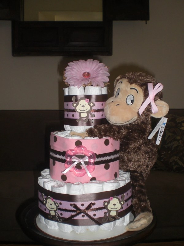 Pink and Brown Monkey Baby Shower Cake
