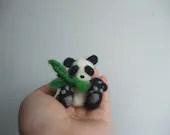 Needle felted minature panda with bamboo - kom2c