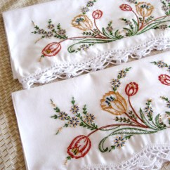 Red Kitchen Table Set Rustic Cabinets Vintage Embroidered Pillow Cases Floral Orange Green Brown New