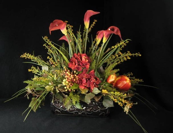 Calla Lily And Pomegranate Tuscan Rectangular Dining