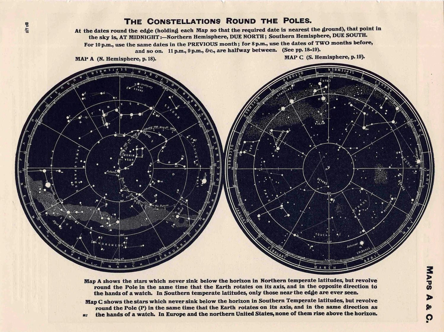 Constellations Star Map Original Vintage By