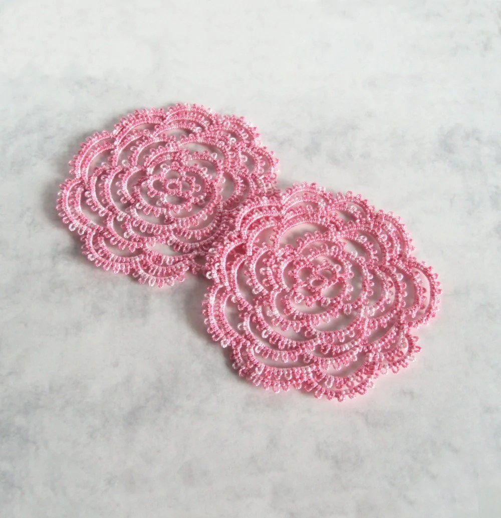 Pink Rose Coasters, Set Of Two - Rosa