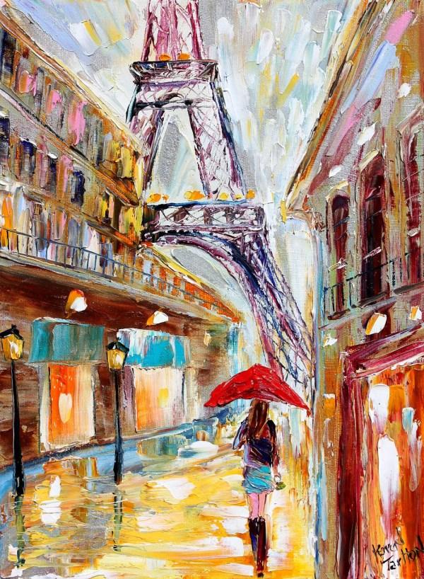 Original Painting Paris Rain Eiffel Tower Cityscape Modern