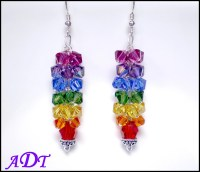 Chakra Earrings in Rainbow Colored Swarovski Crystal
