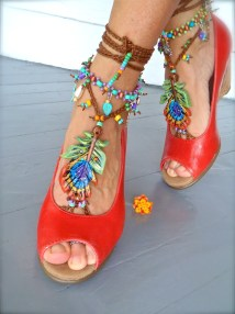 Peacock Barefoot Sandals Feather Beach Wedding Sole