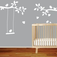 Nursery wall decal branch with birdsswingwhite wall decal
