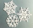 SALE Crocheted snowflakes, Christmas ornaments, white decorations, applique /set of 3/ - eljuks