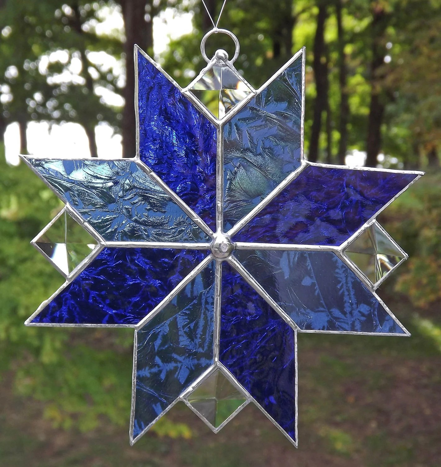 Stained Glass Suncatcher Quilt Star Royal Blue and Light Blue