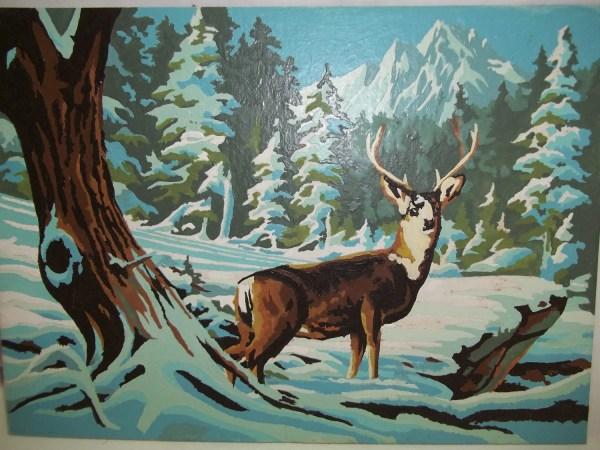 Vintage Winter Scene With Deer Paint Number Painting