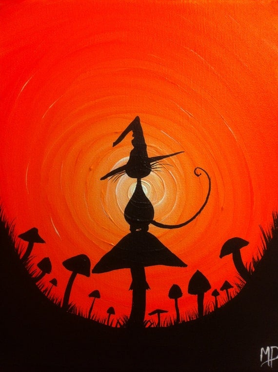 The Witches Hat No2 8 x 10 acrylic on canvas ready to