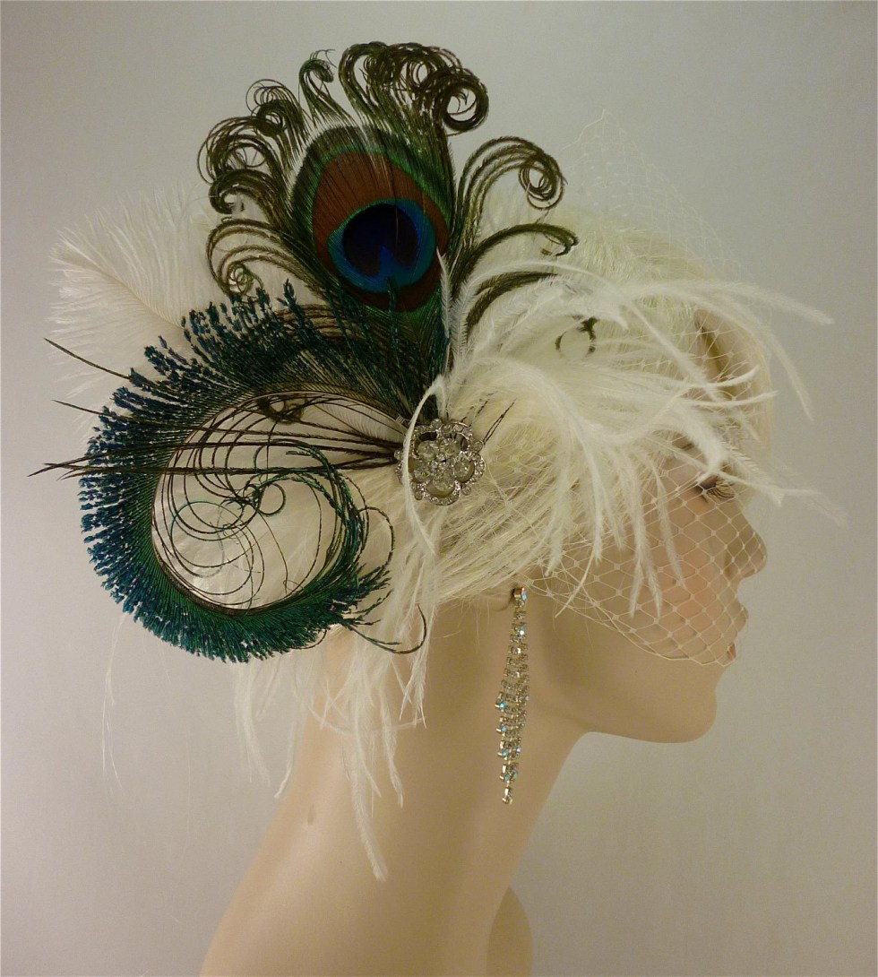 Bridal Feather Fascinator, Bridal Fascinator, Fascinator, Bridal Headpiece, Hair Clip, Rhinestones - Rock On