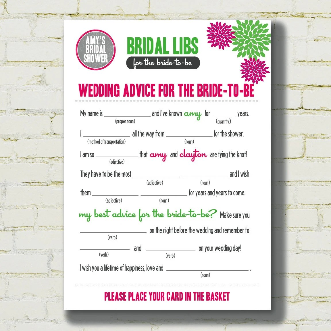 Mad Libs Bridal Shower Edition Fun Floral By Blushnotes