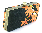 Black and Orange Floral Clutch Dressing Case BagBoy - BagBoy