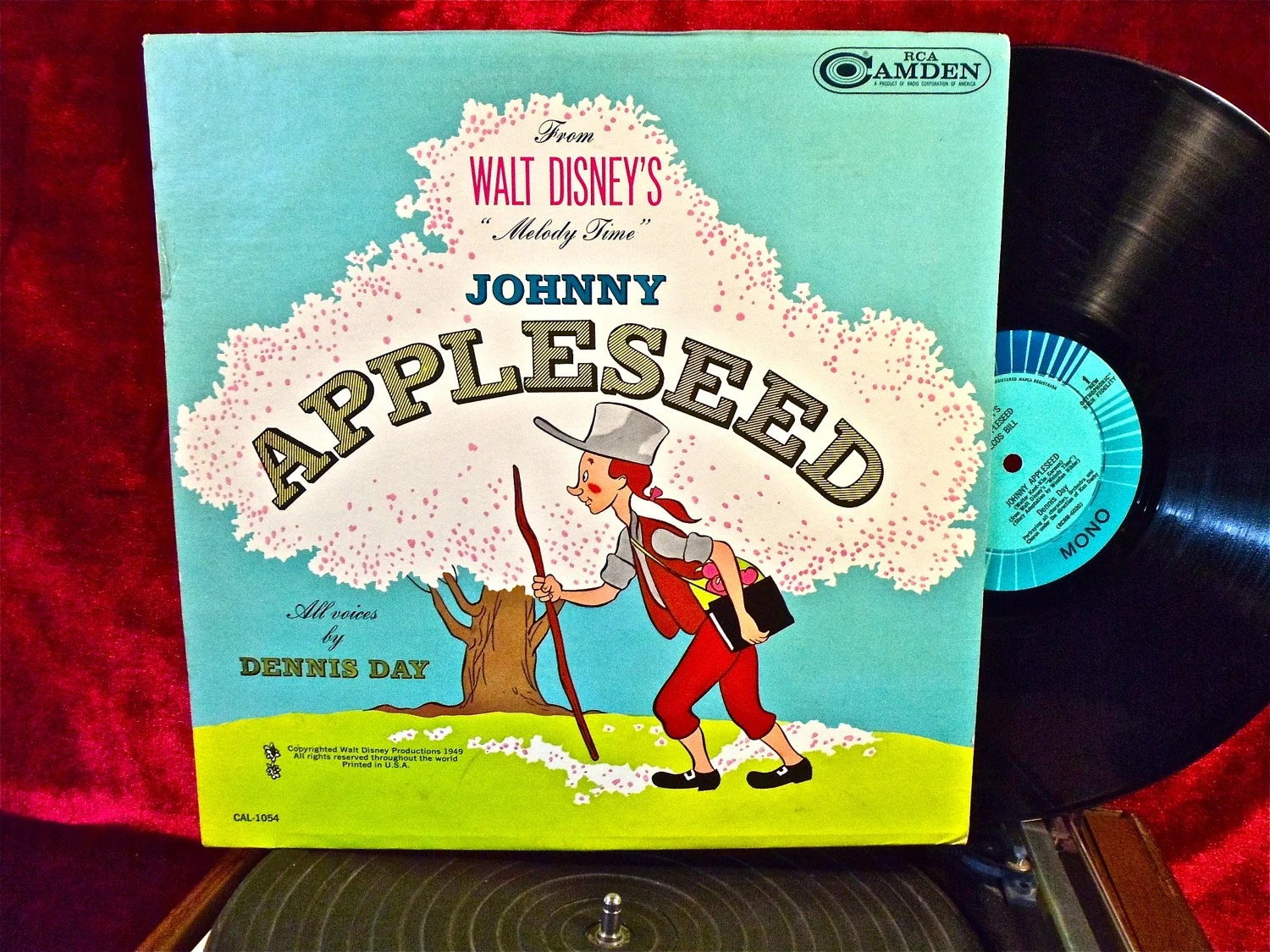 Walt Disney Johnny Appleseed Vintage Vinyl Record