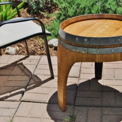 Wine Barrel Chair Cover Patterns For Weddings Arched Napa Valley End Table With 3 Legs Upcycled