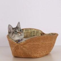 Cat Canoe Unique Modern Kitty Pet Bed In Faux Bois