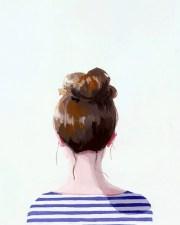 hair art bun print top knot 17