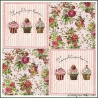 4 Shabby Chic Paper Decoupage Napkins Roses And Cupcakes