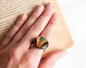 Fall fashion jewelry - Black and orange ring - Boho style - Lepun