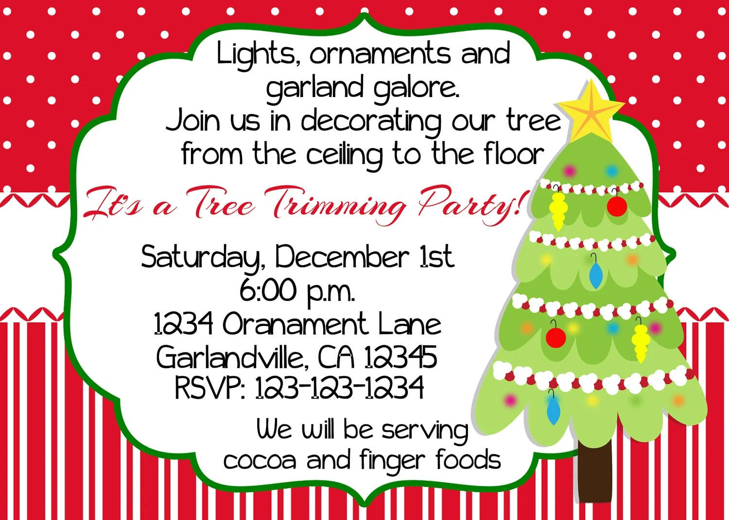 Items Similar To Christmas Tree Trimming Party Invitation