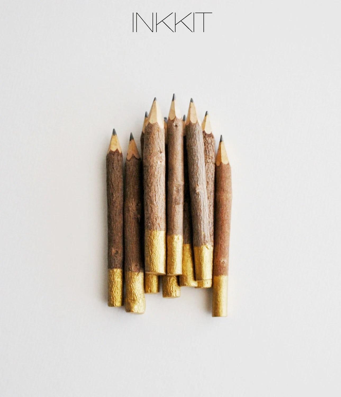 """Bulk - gold dip twig pencils - hand painted - 4"""" (50 pencils) - inkkit"""