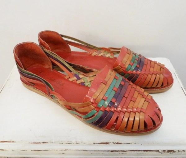 Vintage Mexican Colorful Leather Huarache Sandals Shoes 11