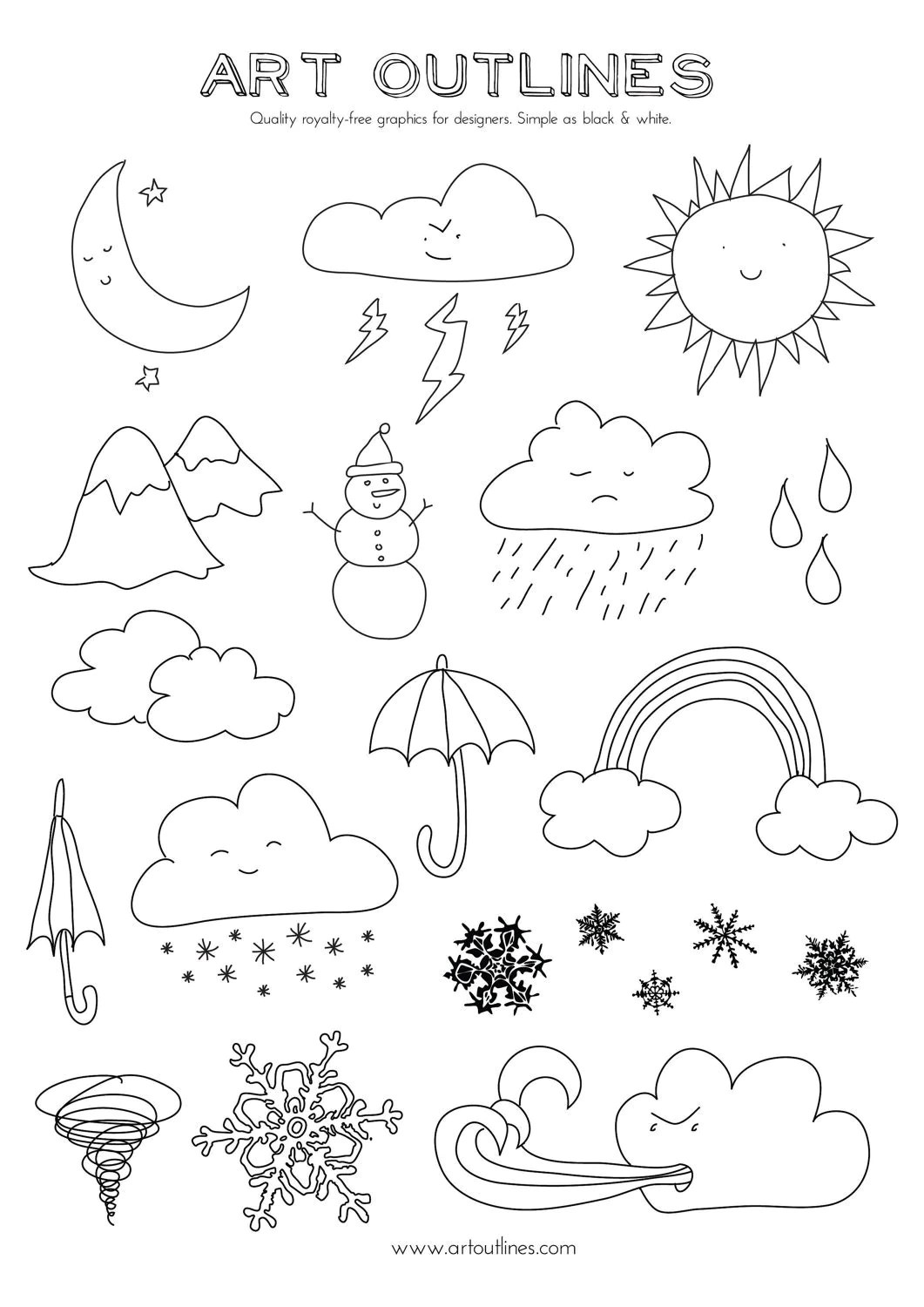 Set Of Weather Illustrations Art Outlines Full Page 20