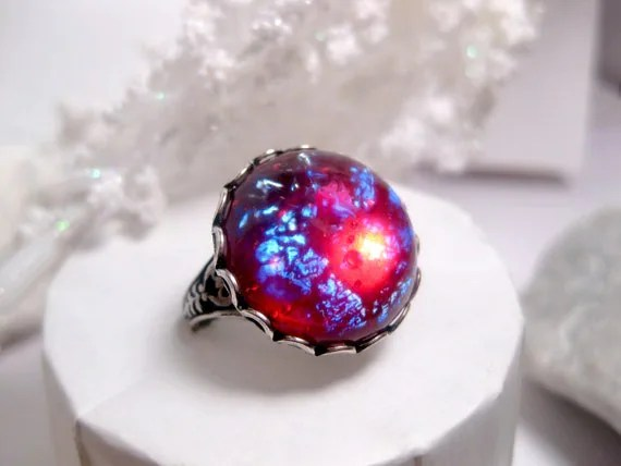 Round Dragons Breath Ring Opal Ring Fire Opal Ring