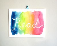 Read wall art watercolor painting dorm decor by