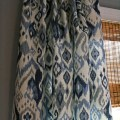 Blue and white ikat curtain panel custom drapery in swavelle mill