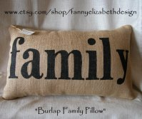 Burlap family Pillow Decorative Pillow Burlap