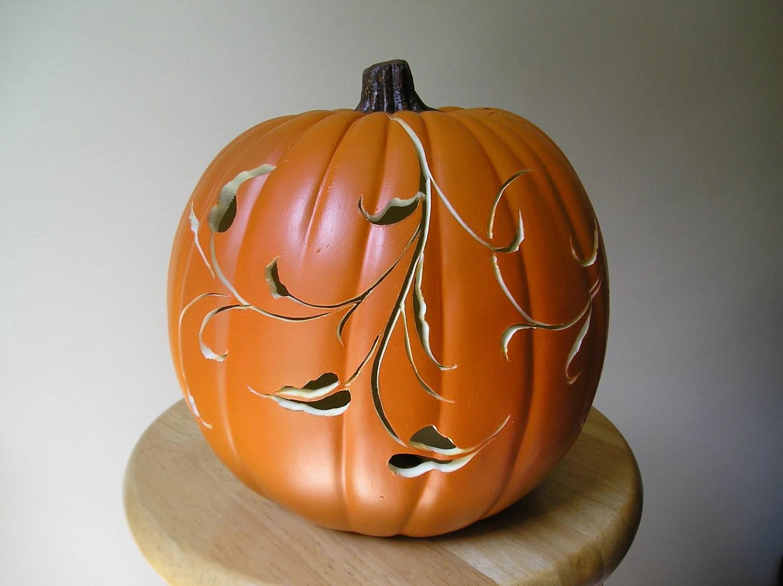 CIJ Sale 15% Decorative Scroll Carved Orange Pumpkin - purpleinkgraphics