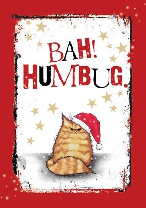 Bah Humbug Grumpy Cat Christmas Card Tabby