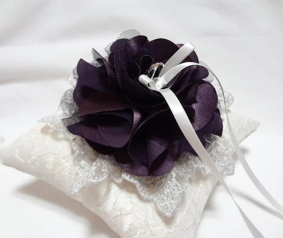 Purple wedding ring pillow deep purple satin by MirinoBridal