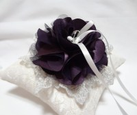 Purple wedding ring pillow deep purple satin by MirinoBridal