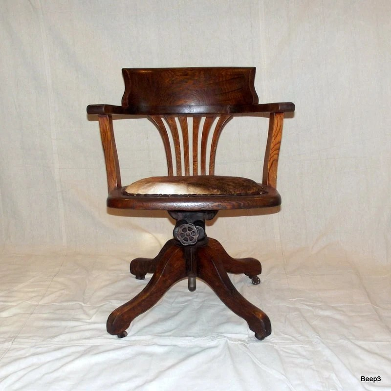 Antique Upcycled Wooden Bankers Office Chair End Of Summer