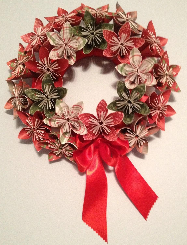 christmas origami flower diagram greddy e manage blue wiring paper wreath kusudama by kreationsbykia