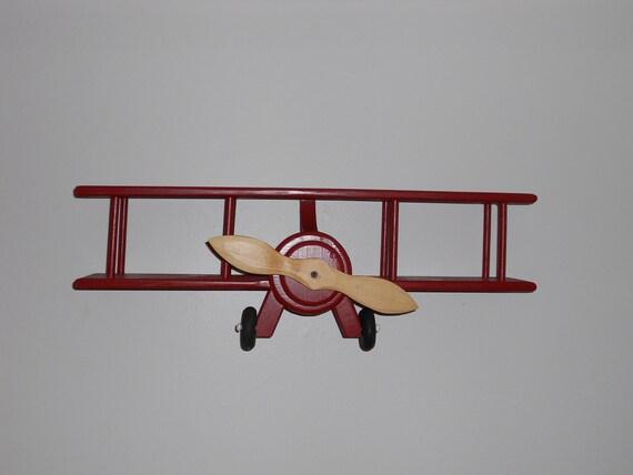 Handmade Wooden Airplane Wall Hanger