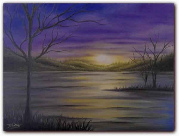 Original Surreal Art Dark Landscape Painting Whimsical