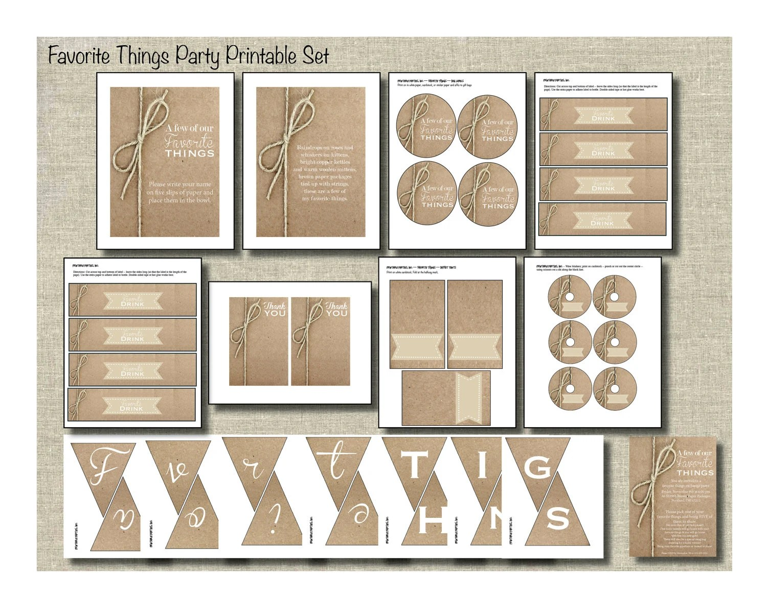 Favorite Things Party Printable Party Package