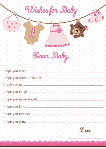 Wishes for Baby Card Girl Baby Shower WIshes for Baby Girl