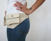 Cream leather hip bag, Pouch belt, Recycled leather, Ready to ship - maykobags