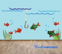 Reusable Fish Wall Decal Childrens REUSABLE Fishing Wall