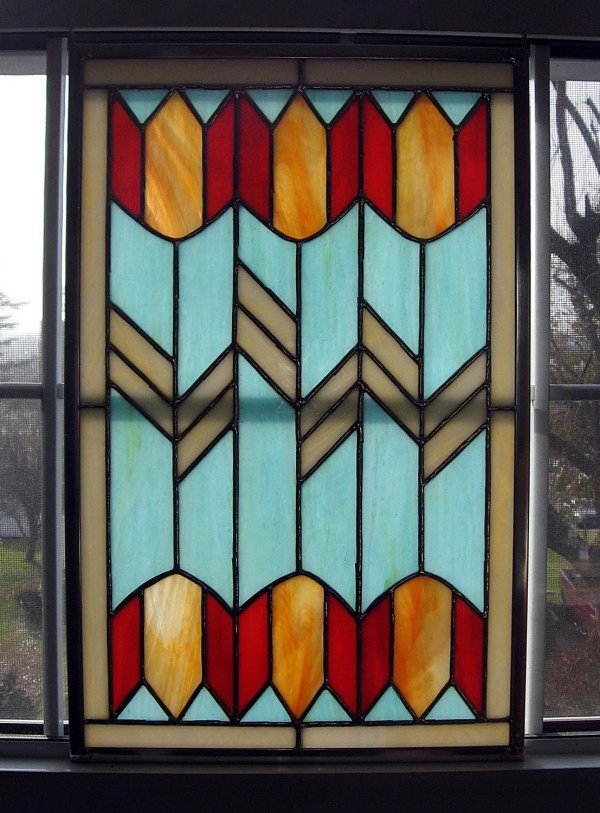 Tulip Geometric Stained Glass Window Panel