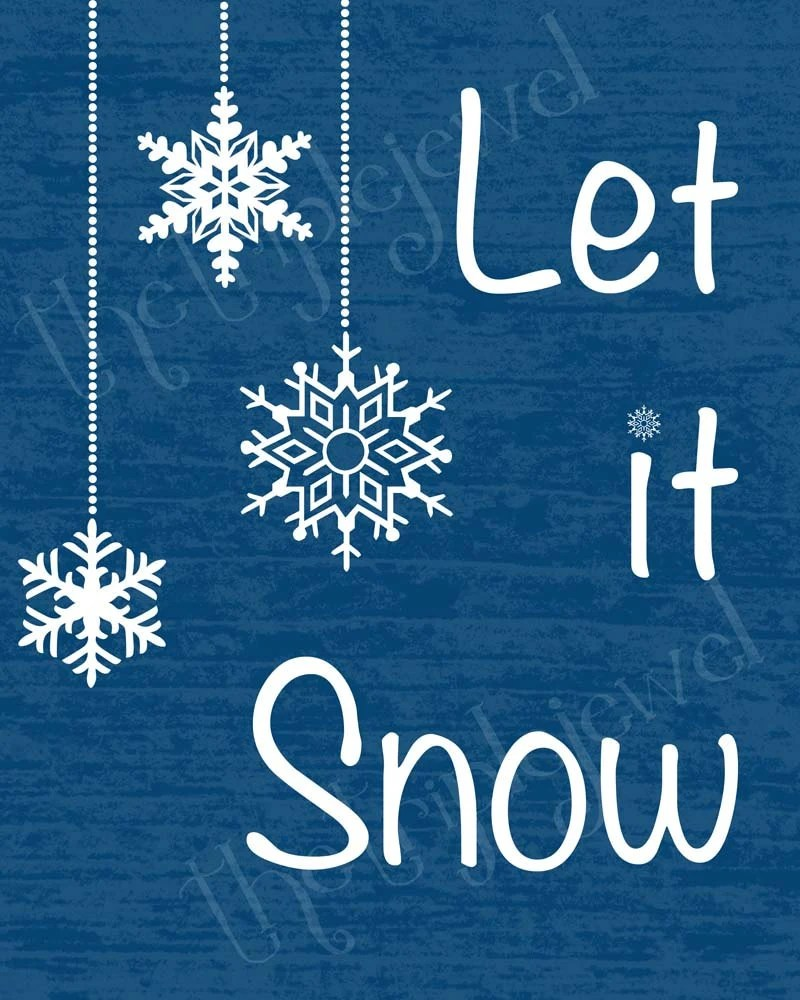 Items Similar To Let It Snow Christmas Typography Print