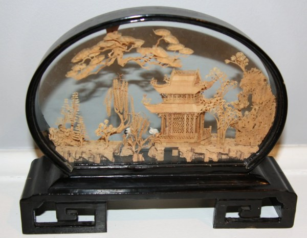 Vintage Chinese Cork Landscape Carving With Cranes And Pagoda